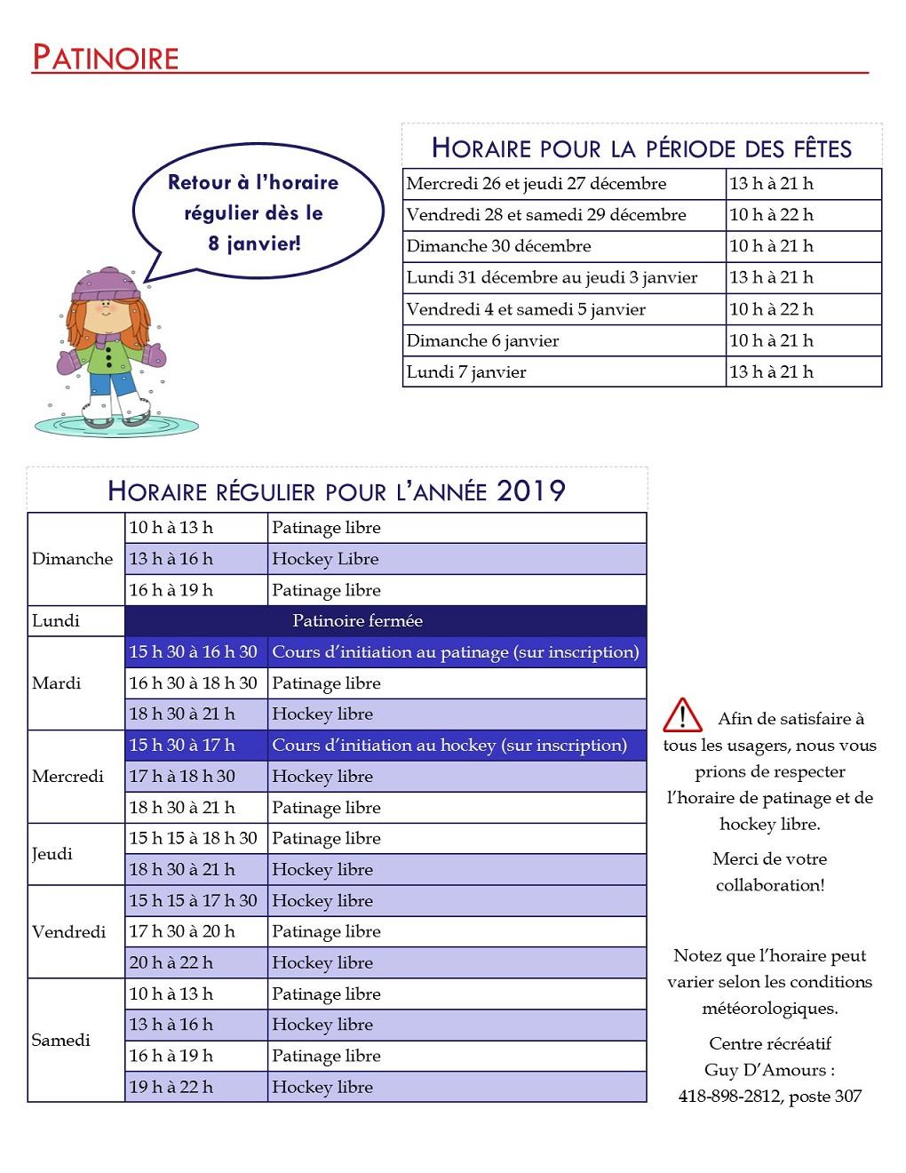 patinoire 2019 horaire 26 déc